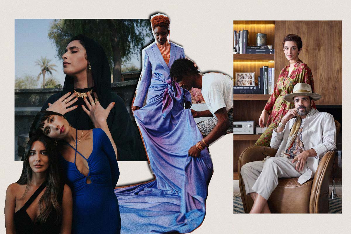 Collage of Images with fashion models and arab fashion designers